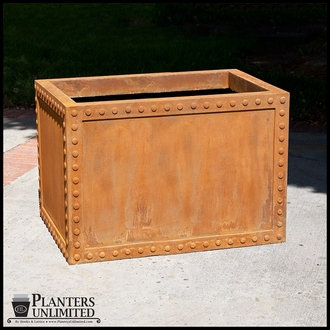 Hughes Riveted Fiberglass Rectangular Planter  84in.L x 30in.W x 30in.H