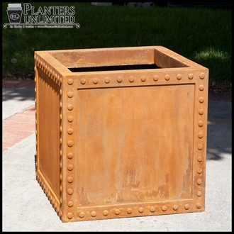 Hughes Riveted Fiberglass Square Planter 42in.L x 42in.W x 42.inH