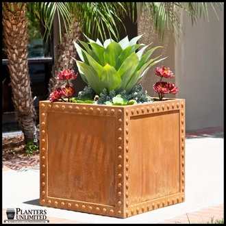 Hughes Riveted Fiberglass Square Planter 18in.L x 18in.W x 18.inH