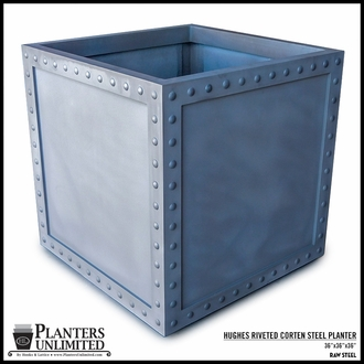 Hughes Riveted Fiberglass Square Planter