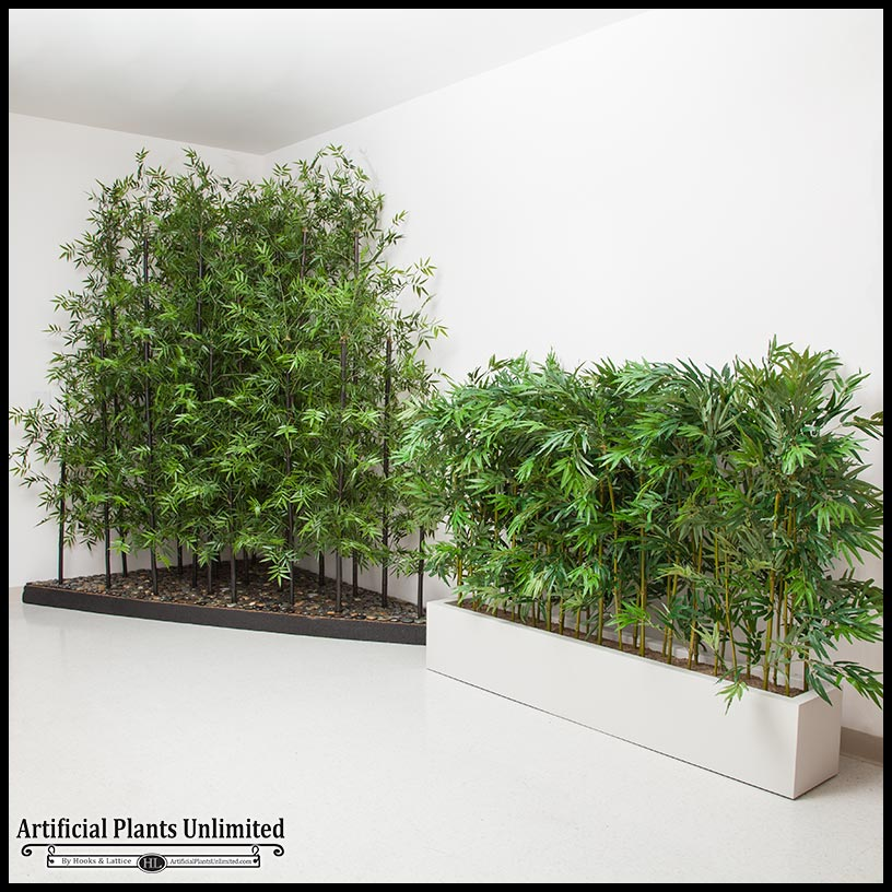 8\'L Bamboo Indoor Artificial Grove in Modern Planter
