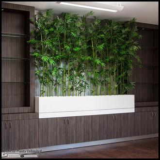 Indoor Artificial Bamboo In Modern Planter