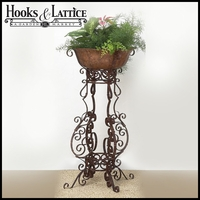 Large Brown Taupe Iron Four Leg Plant Stand And Planter