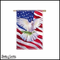 "Large Dove American Flag - 43""x29"""