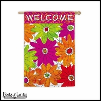 "Large Funky Florals Welcome Flag - 43""x29"""