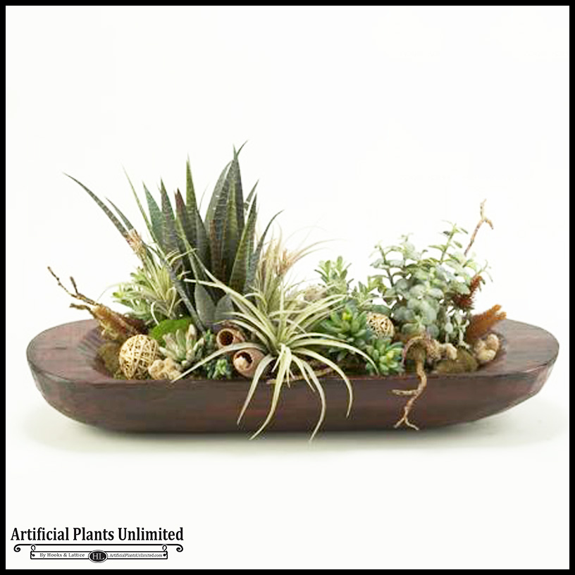 Large Oval Wooden Bowl With Mix Of Aloe Succulents And Gres