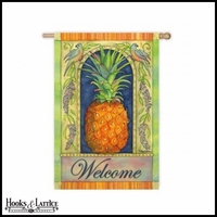 "Large Pineapple Welcome Flag - 43""x29"""