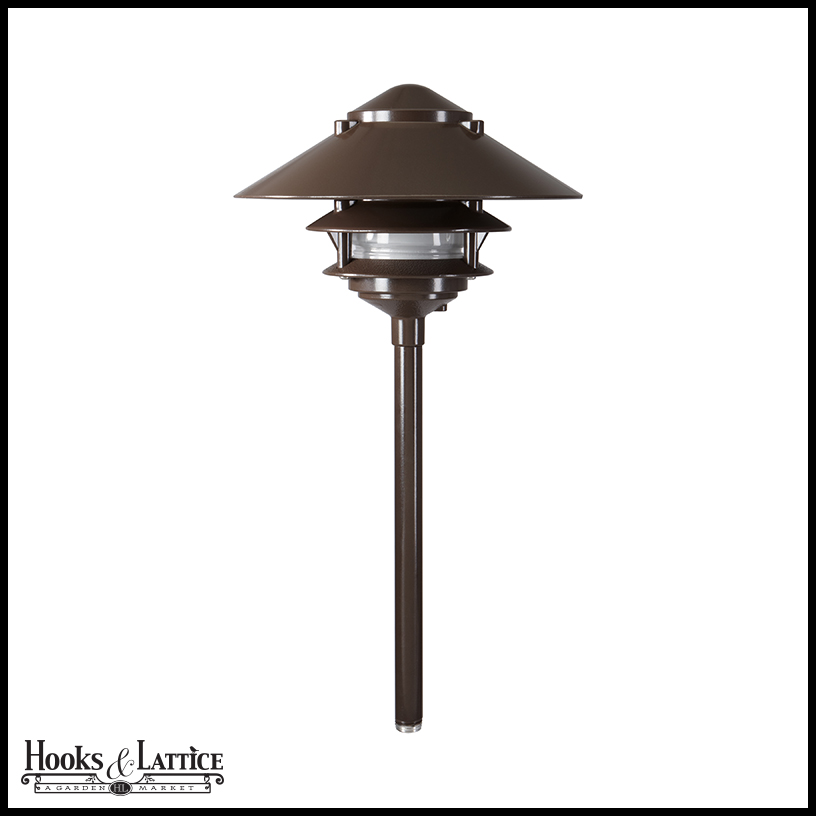 Large top hat tiered line voltage path light for Line voltage outdoor lighting