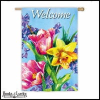 "Large Welcome Bouquet Spring Flag - 43""x29"""