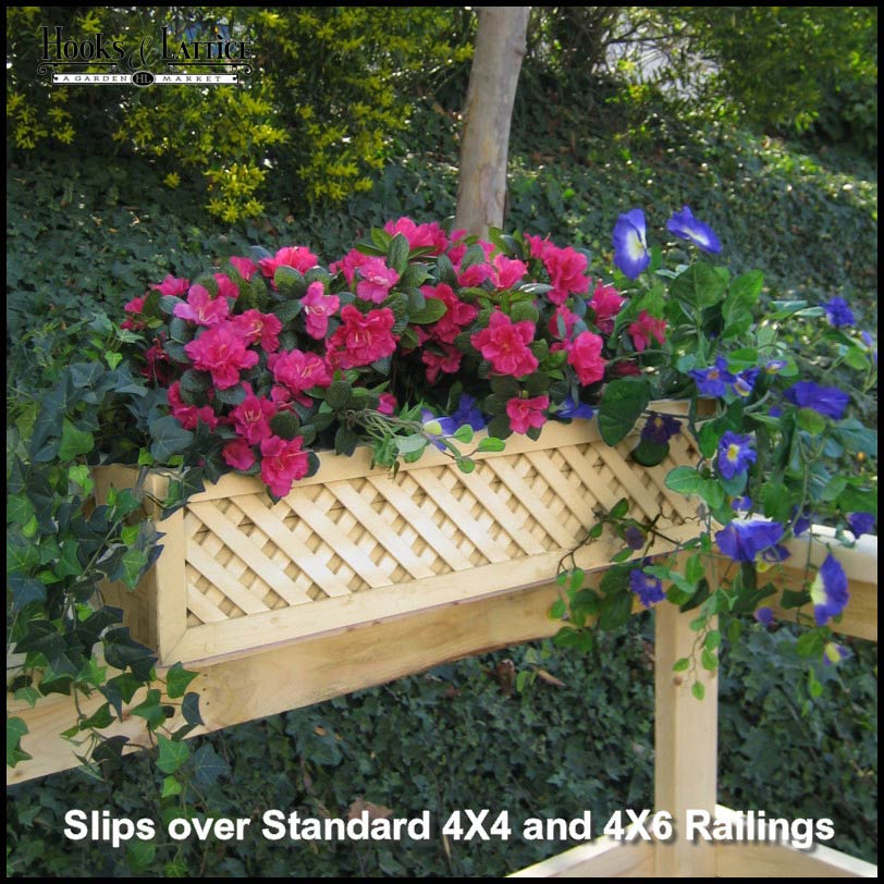 Lattice Rail Flower Box Is a Superb Addition to Decks on wooden fence planters, wooden plant pots, wooden staircase planters, deck rail planters, wooden wall planters, wooden ladder planters, wooden deck planters, wooden patio planters, wooden chairs planters, wooden bench planters, wooden garden planters, wooden step planters,