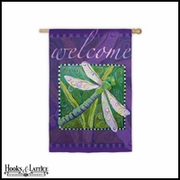 "Lavender Dragonfly Welcome Garden Flag - 18""x12.5"""