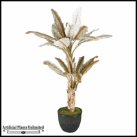 7' Leopard Print Palm Tree in Willow Basket