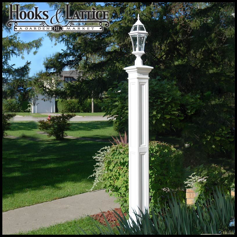 Lexington lamp post with aluminum ground mount white click to enlarge aloadofball Image collections
