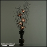 Lighted Hydrangea in Ceramic Vase, 29 in.