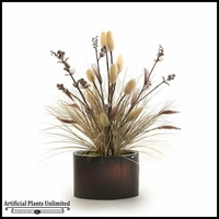Lighted Loofah Branches with Grass in Oval Metal Planter, 35 in.