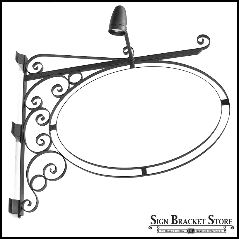 Lighted Post Mount Double Oval Sign Frame w/ Scroll - 26in. x 17in.