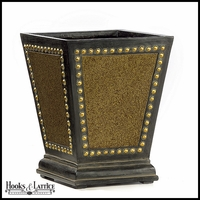 Lois Fiberglass Square Planter - Brown and Gold