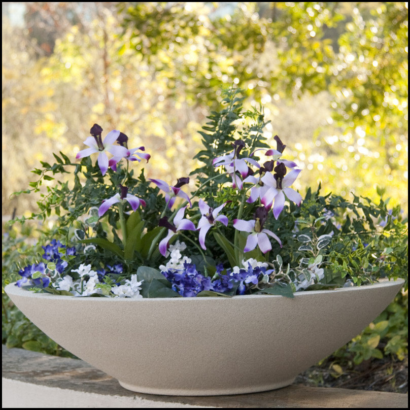 Preferred Outdoor or Indoor Low Bowl Planters, Custom Sizes, Styles and Finishes VU58