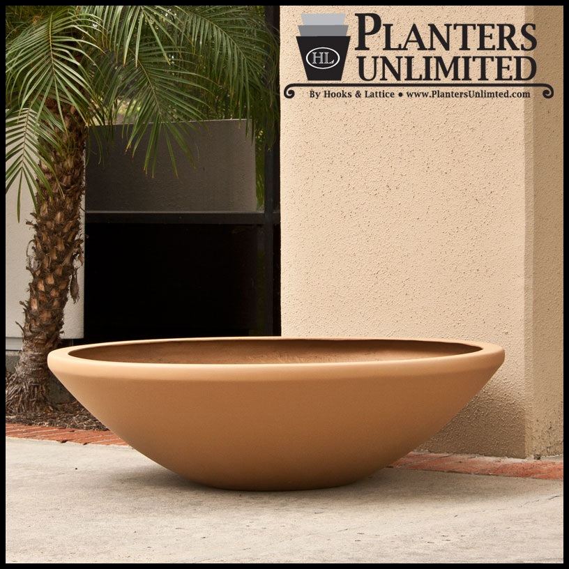 Top Outdoor or Indoor Low Bowl Planters, Custom Sizes, Styles and Finishes BN73