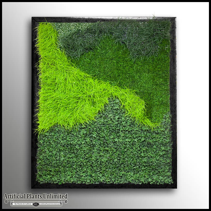 Cedar Framed Green Grass Plant Wall