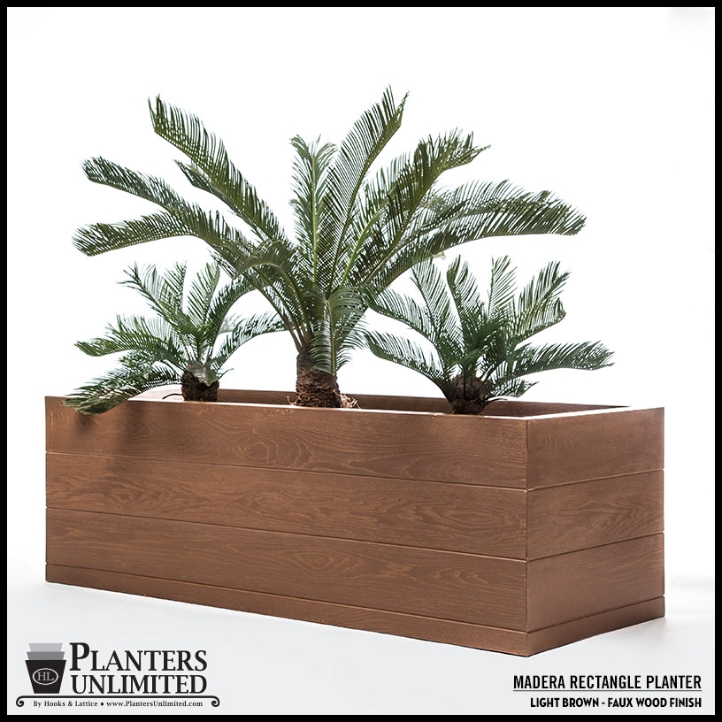 madera rectangle planter boxes outdoor planters with faux wood finish