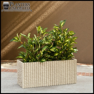 Mason Corrugated Concrete Fiberglass Commercial Planter - 18in.Sq. x 24in.H