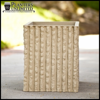 Mason Corrugated Concrete Fiberglass Commercial Planter - 24in.Sq. x 18in.H
