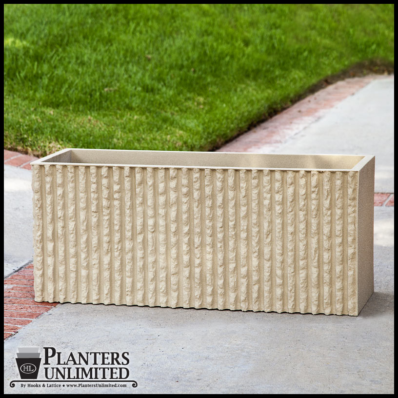 Corrugated commercial concrete planter rectangle Concrete planters