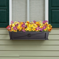 Medallion Decora Window Boxes with Black Galvanized Liners