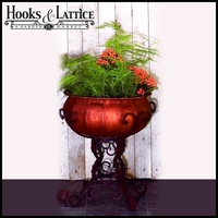 Medium Antique Brown Iron Frame Plant Stand With Faux Copper Planter