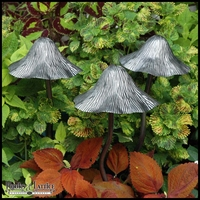 Metal Tippy Toadstool Garden Mushrooms - Large Matte Pewter