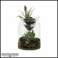 11in. Mini Aloe Easter Grass and Tillandsia in Glass Jar with Glass Insert