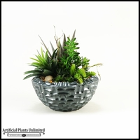 Mixed Agave Succulents Aloe and Echeveria in Gray Contemporary Bowl, 20 in.