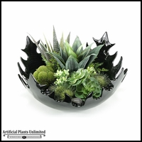 Mixed Echeveria and Agave in Contemporary Resin Bowl, 24 in.