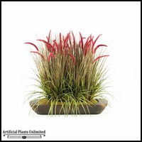 3' Mixed Onion Grasses in Oblong Wooden Planter