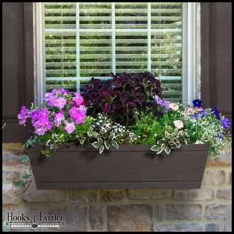 48in. Modern Farmhouse Window Box - Reclaimed Dark Hickory Finish
