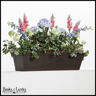 54in. Modern Farmhouse Window Box - Reclaimed Dark Hickory Finish