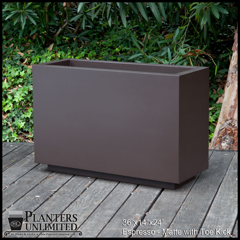 Modern rectangle planter 36inl x 12inw x 24inh click to enlarge workwithnaturefo