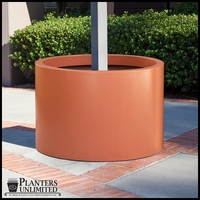 Modern Round Fiberglass Post Planter 20in.D x 18in.H