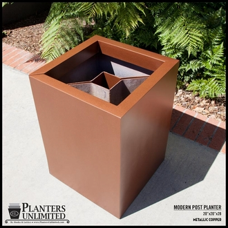 Modern Square Fiberglass Post Planter 30in.L x 30in.W x 36in.H