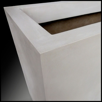 Modern Square Tapered Cast Stone Planter - 18in.L x 18in.W x 30in.H