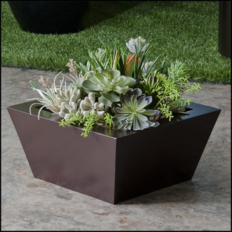 Modern Tapered Fiberglass Commercial Planter 18in.L x 18in.W x 9in.H