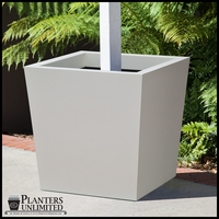 Modern Tapered Square Fiberglass Post Planter 30in.L x 30in.W x 24in.H