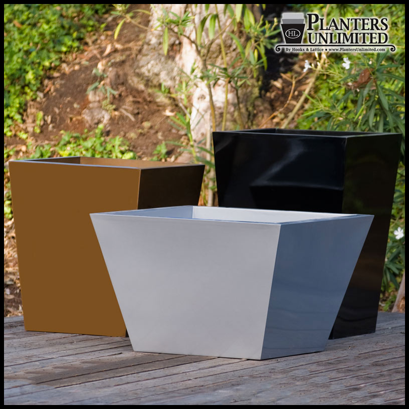 Modern Tapered Planters Fiberstone Like Outdoor Tapered