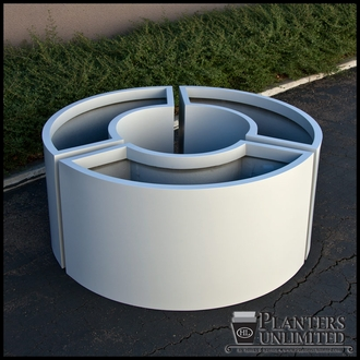 Modular 1/3 Circle Fiberglass Commercial Planter 44in.Rad. x 18in.W x 18in.H