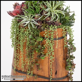 Money Plant and Succulents in Rustic Wood Planter 20inLx10inWx54inH