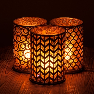 Moroccan Hurricane Candle Holder with FlameWave Module