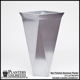 Neo Polished Aluminum Square Planter - 24in. x 24in. x 48in.