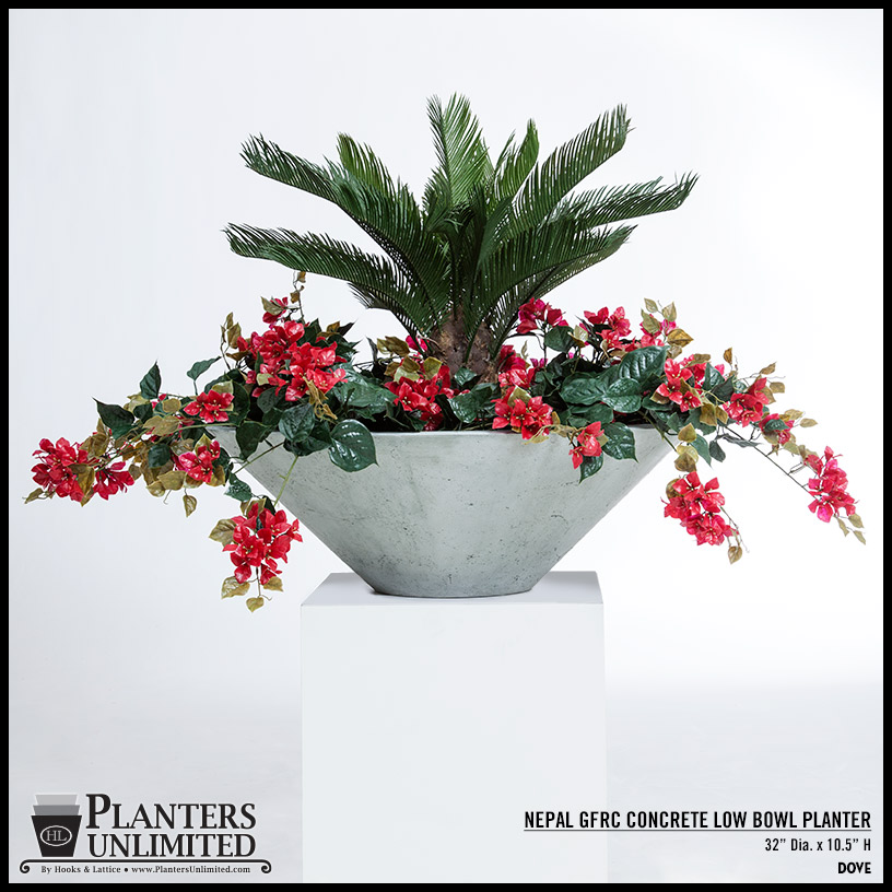 Very Large Concrete Bowl Planters, Commercial Gardening| Planters Unlimited NA02