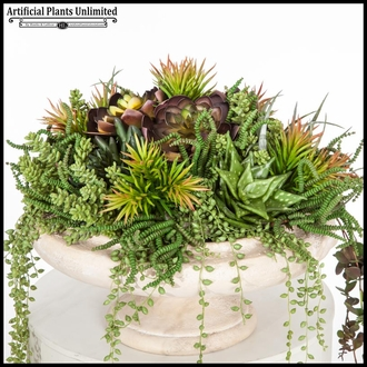 Old World Tabletop Succulent Arrangement in Urn 17inDx14inH